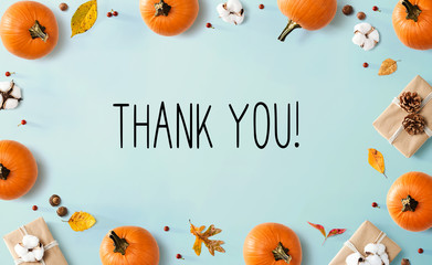 Thank you message with autumn pumpkins with gift boxes