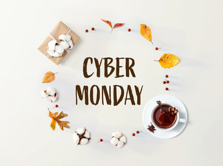 Wall Mural - Cyber Monday banner with autumn leaves and cinnamon tea
