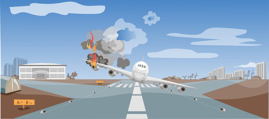 Air crash, air catastrophe, emergency landing of the plane, critical situation, passengers in danger