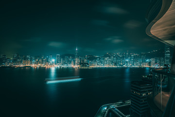 Fotomurales - Victoria Harbor nightscape view from hotel