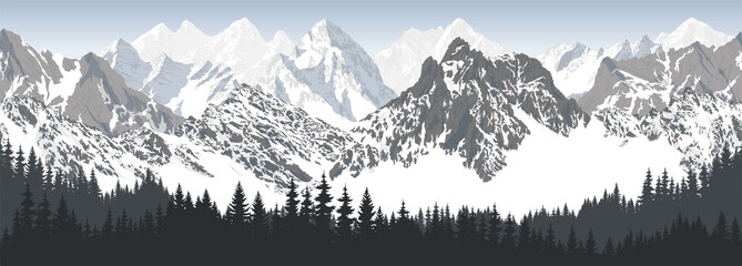 Foto auf Leinwand Grau Verkehrs vector seamless mountains with woodland karakoram himalayan panorama background