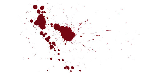 Top view blood splatter dripping isolated on white background