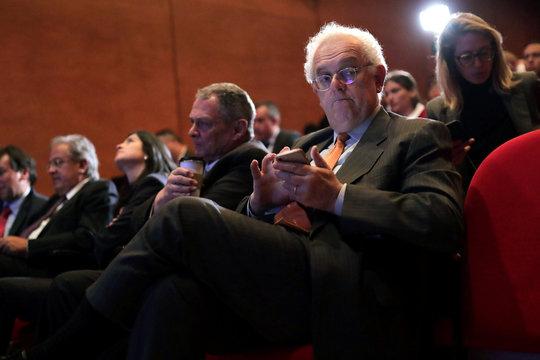 Jose Antonio Ocampo attends a report launch in Bogota