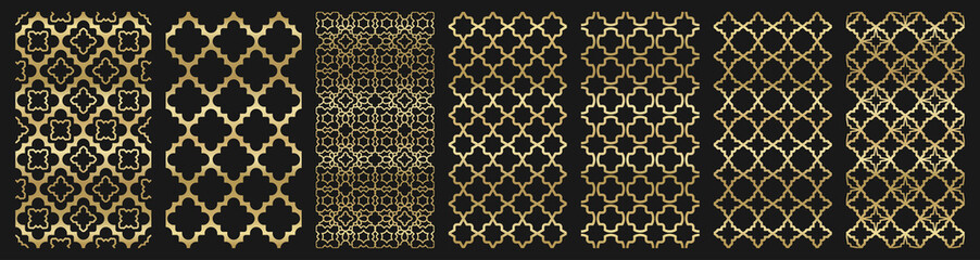 Arabic seamless pattern with golden islamic ornament pack on black background