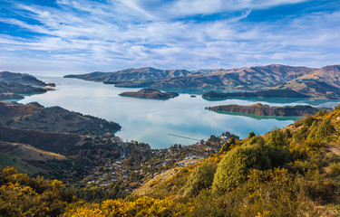 Scenic view of Lyttleton Harbour on Banks Peninsula, New Zealand
