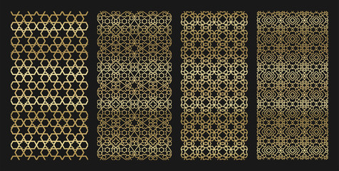 Golden jewish seamless with hexagon and ornament pattern pack
