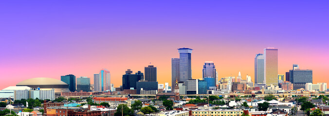 Colorful Panorama of New Orleans Skyline Fotomurales