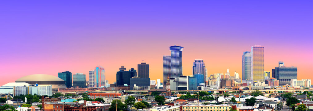 Colorful Panorama of New Orleans Skyline