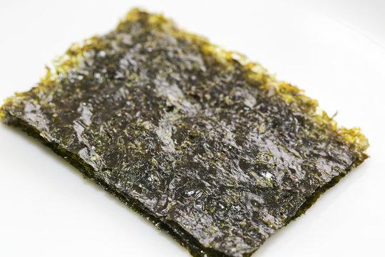 seaweed nori asian snack crispy asian food sushi rice in white background - Image