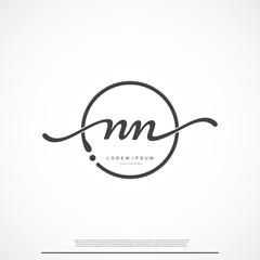 Elegant Signature Initial Letter NN Logo With Circle.