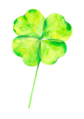 Watercolor illustration of a beautiful green clover for St. Patrick's day.Isolated on white background