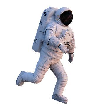 running astronaut, isolated on white background