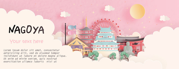 Fototapete - Tour and travel advertising, postcard, panorama poster of world famous landmark of Nagoya, Japan in paper cut style vector illustration.