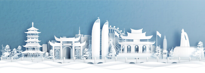 Fototapete - Panorama view of Xiamen skyline with world famous landmarks of China in paper cut style vector illustration.