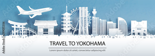 Fototapete Travel advertising with travel to Yokohama concept with panorama view city skyline and world famous landmarks of Japan in paper cut style vector illustration.