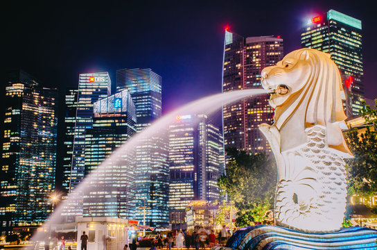 SINGAPORE-NOV 22: The Merlion fountain at night. Nov 22, 2018 in Singapore. Merlion is an imaginary creature with a head of a lion and the body of a fish and is often seen as a symbol of Singapore.