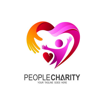 Heart logo and people design, Charity and support vector concept, love and happy life vector illustration.