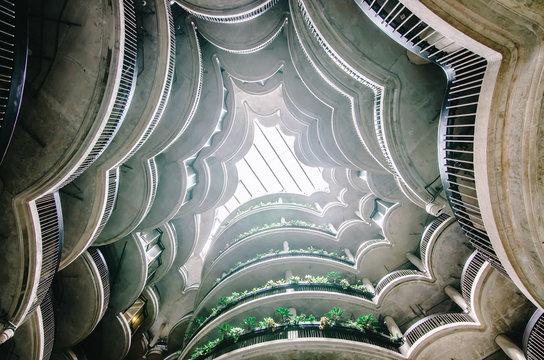 "SINGAPORE - NOV 25, 2018 : Inside view of building ""Dim Sum Basket"" at Nanyang Technological University (NTU) ,Modern architectural building in Singapore."