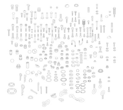 Nuts, Bolts & Screws | Isometric Technical Illustration for Exploded Diagrams | Cotter Pins