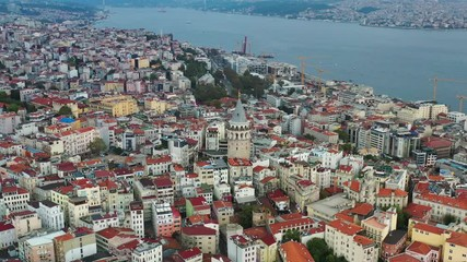 Wall Mural - Aerial view of Galata tower in Istanbul, Turkey.