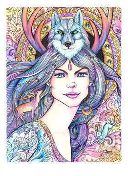 Watercolor drawing beautiful woman with wolf, deer, mandala, patterns