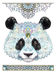 Color sketch panda bear head with patterns