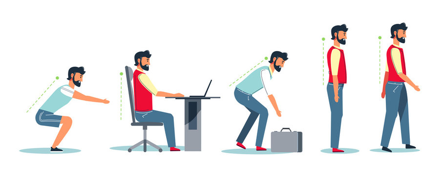 Posture and healthy spine, correct sitting at desk, ergonomics advice