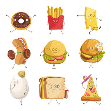 Street snack or fast food with faces isolated icons