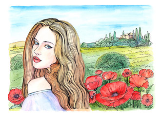 Watercolor drawing beautiful young woman, field poppies