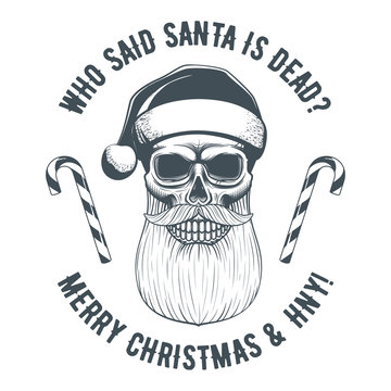 Vintage Santa Claus skull and candy cane