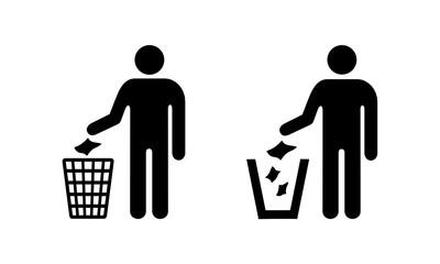 Obraz sylwetka człowieka, wyrzucanie śmieci do kosza - fototapety do salonu