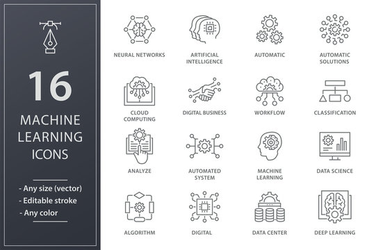 Machine learning icons set. Black vector illustration. Editable stroke.