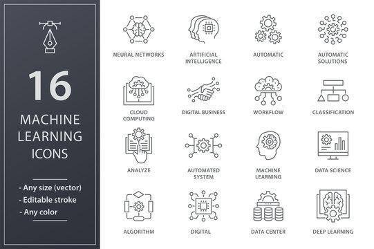 Machine learning icons set. Black vector illustration. Editable stroke.