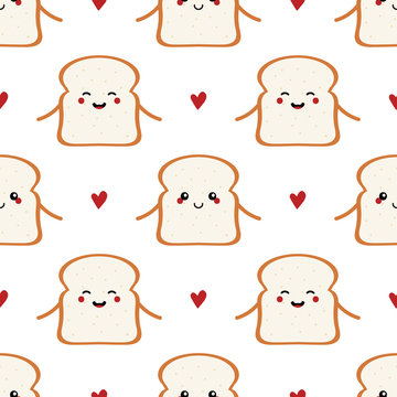Cute cartoon toast bread characters and hearts seamless pattern background for breakfast and food design.