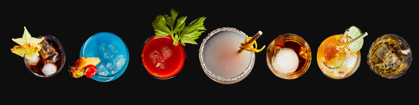 Top down panorama of exotic alcoholic cocktails