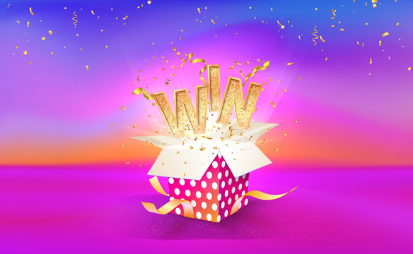 Open textured gift box with confetti explosion inside and WIN word. Big win. Giftbox on bright liquid background. Vector illustration