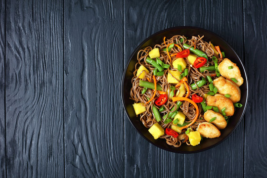 Chicken and Mango Soba Noodle Salad in a bowl