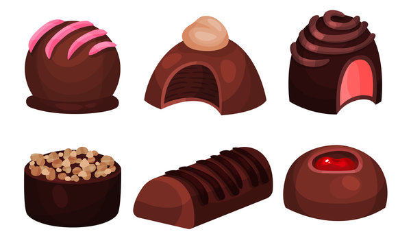 All Sorts Sweets Vector Set. Chocolate Desserts With Mixed Flavours Concept