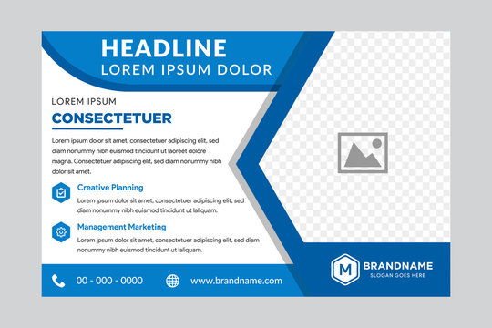 Illustration for your business presentations. Brochure or flyer. horizontal layout. flat blue color. right side for place of photo.