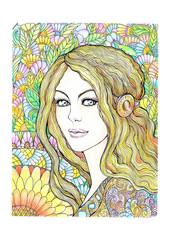 Drawing beautiful young woman with long hair, mandala
