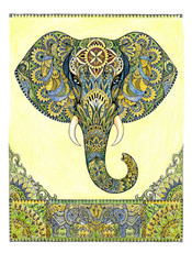 Sketch elephant head with patterns and ornaments