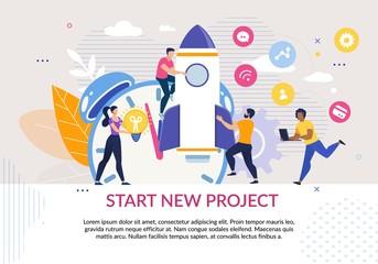 Fototapeta Start New Project Motivation Poster in Flat Design obraz