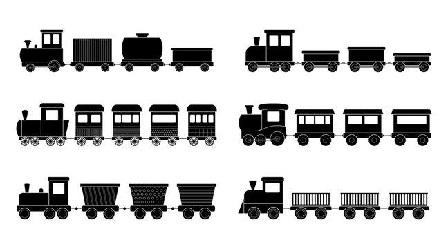 Set of kid trains, vector illustration