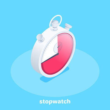isometric vector image on a blue background, silver stopwatch retro icon