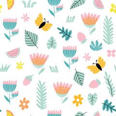 Fototapete - Cartoon background butterflies and flowers