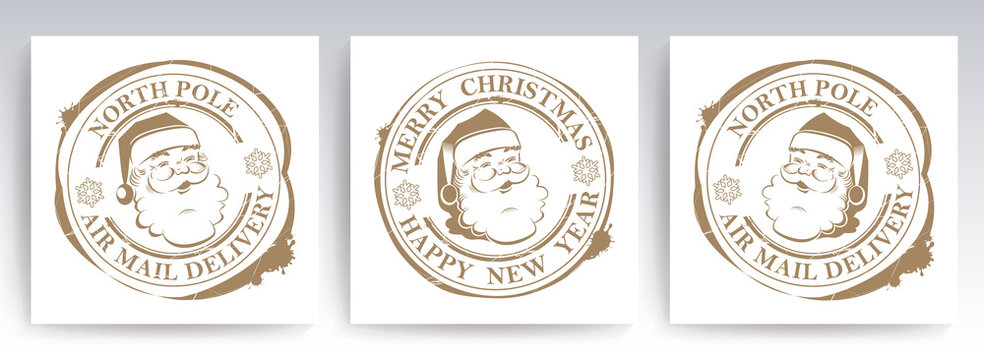 Christmas round stamp with outline of Santa Claus, set