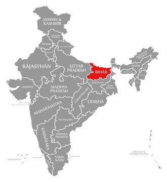 Bihar red highlighted in map of India