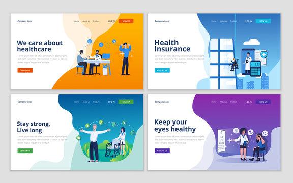 Set of web page design template for medical support, health insurance, medical services, healthcare. Illustration for website and mobile website development