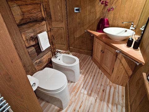 interior photography of a rustic bathroom