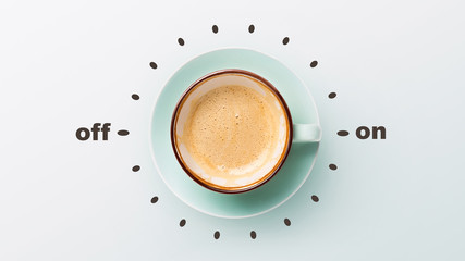 Blue cup with cappuccino over grey background Fotomurales
